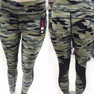 Camouflage Leggings with See Through Mesh